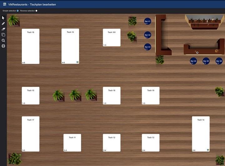 Screenshot Tischplan Vik Restaurants Lokal