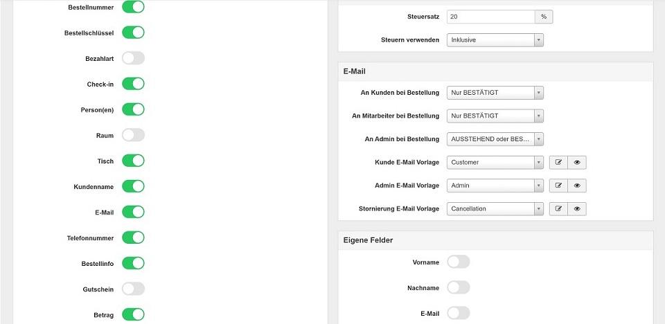 Screenshot Konfiguration Vik Restaurant Reservierungen