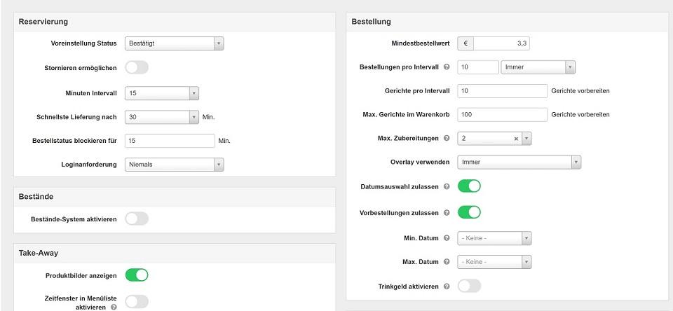 Screenshot Konfiguration Vik Restaurant Speisekarte